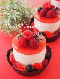 赤×黒の苺ムースケーキ。・* - Heartful Sweets