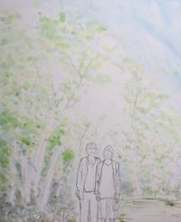 【水彩画】No375 新緑の中の母娘 - ジェンマとおっちゃんの日記2