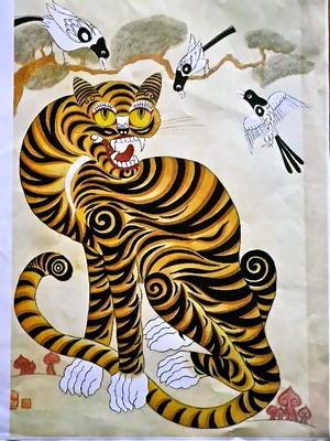 韓国観光公社での民画講座、最後の作品は「虎図」 - Syumizin / 茶藝館