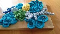 モチーフ盛り合わせ - 空色テーブル  編み物レッスン&編み物カフェ