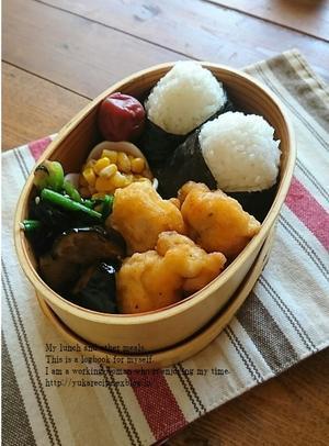 3.22 鶏のピカタとおむすび弁当 - YUKA'sレシピ♪