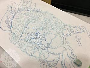 正面獅子 - 兵庫 姫路 タトゥーデザイン アート 彩躯術三十六房/Chamber36