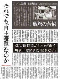 飯館の苦悩 それでも「自主避難」なのか 川や山除染まだ「戻れない」帰る住民7.8%だけ/東京新聞 - 瀬戸の風