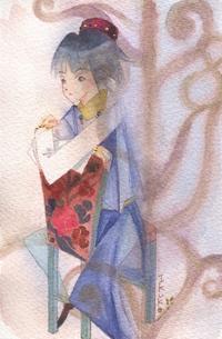 椅子に腰かける男の子☆青い中央アジア風衣装 - ギャラリー I