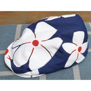 5679回 凧人オリジナル 手拭いハンチング ビッグプルメリア(紺) - 今日の凧人