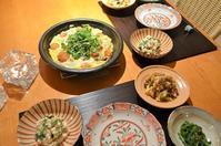 牡蠣とトマトの卵蒸し/カリフローレと牛肉炒め/ピーマンとザーサイの白和え/菜の花 - まほろば日記
