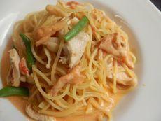 3/23本日パスタ:鶏胸肉とヒラタケのトマトクリーム・スパゲティ - ogawacafeふろく