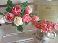 ローズと小花の布花アレンジ - handmade flower maya