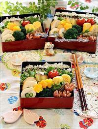アスパラでチキンロール弁当と今夜は海鮮丼♪ - ☆Happy time☆