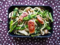 3/24(金)ウインナーと菜の花のスパゲッティ弁当 - ぬま食堂