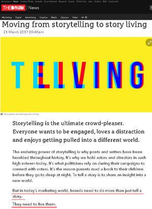 「ストーリーテリング」から「ストーリーリビング」へ Moving from storytelling to story living - ニューヨークの遊び方
