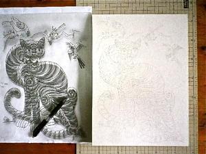 民画「虎図」のトレース - Syumizin / 茶藝館