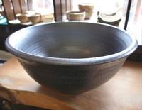 鉄釉の手洗い鉢 - のぼり窯 窯元の日々