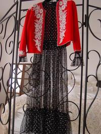 ビーズ刺繍の赤いカーディガン - LilyのSweet Style