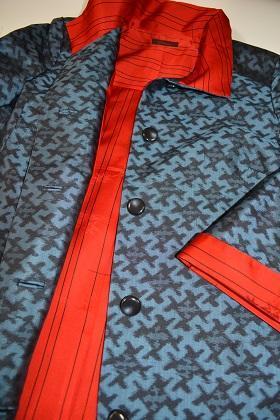 着物リメイク本場大島藍染紬のショートコート - 着物ドレス・着物リメイク オーダーのポマル通信