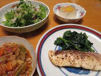 鯛のムニエルと、ミネストローネと、香草サラダ、それに絹揚げ - かやうにさふらふ