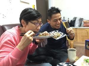 Okonomiyaki night. - ヤッケブースでパンケーキ!