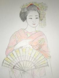 祇園舞妓さん モデル 小花ちゃん  大きさB2 - 黒川雅子のデッサン  BLOG版