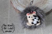 はりねずみブローチ パンダのぬいぐるみ - Wool 120%