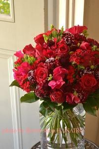 お世話になった上司に贈る、真っ赤な送別の花束♪ - 花色~あなたの好きなお花屋さんになりたい~