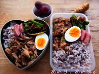 【ふたり弁】豚肉と野菜のウマウマ煮。ことちゃんが、じーっと。 - あの日、あの味。