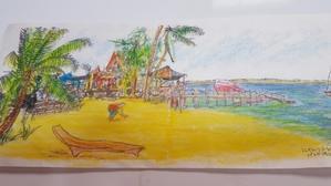 2003年6月25日トンガのリゾート島で1時間でスケッチ…。? - 踊る色鉛筆(旧:色鉛筆が走る)・・・リニューアルオープン!