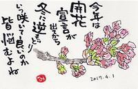 桜と販売機 - きゅうママの絵手紙の小部屋