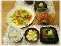 新年度と肉野菜炒めの夜ごはん - at home