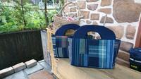 縞 格子 接ぎ合わせ セカンドバッグ - 古布や麻の葉