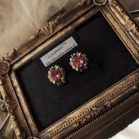 クラシカルカボションイヤリング〈薔薇ピンク〉2種類 - Labra ~stones and beads~