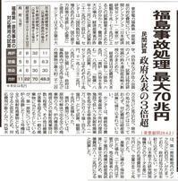 福島事故処理最大70兆円 民間試算政府公表の3倍超/東京新聞 - 瀬戸の風