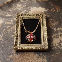 MOKUBAリボンのチョーカーとペンダント〈薔薇ピンク〉 - Labra ~stones and beads~