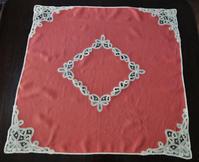 麻ティー用ローズ色テーブルクロス187 ナプキン付き - スペイン・バルセロナ・アンティーク gyu's shop
