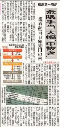 F1廃炉 危険手当大幅「中抜き」業者証言、日額300円の例 /東京新聞 - 瀬戸の風