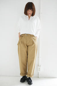 GRANDMA MAMA DAUGHTER / Skipper Neck Blouse & Tuck Wide Pants - titicaca & '61→online shop blog