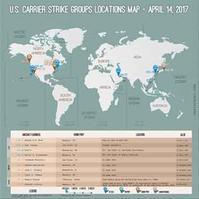 2017年4月14日現在・世界 米空母配置図  / 画像 - 「つかさ組!」