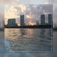 ①「水上バスから夕陽」日の出桟橋~浅草 2017.4.13 - わたしの写真箱 ..:*:・'°☆