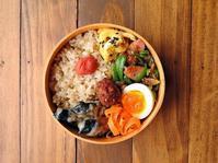 4/17(月)肉巻き茄子の味噌煮弁当 - おひとりさまの食卓plus