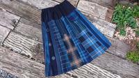 縞 格子 接ぎ合わせスカート - 古布や麻の葉