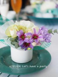 今月のミニクラフトのお花~「4月のテーブルコーディネート&おもてなし料理レッスン」より - ATELIER Let's have a party ! (アトリエレッツハブアパーティー)         テーブルコーディネート&おもてなし料理教室