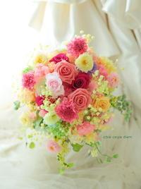 プリザーブドフラワーブーケ 京王プラザホテル様へ ネイビーのドレスに - 一会 ウエディングの花