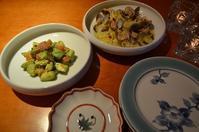 アボガドと讃岐サーモンのわさび醬油和え/春キャベツとあさりの蒸し煮/海老ワンタンスープ - まほろば日記