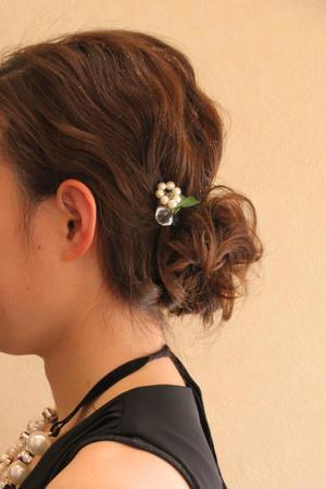 結婚式 髪型 シンプル ヘアアレンジ ルーズ おだんごヘア さくら市 美容室エスポワール - 美容室エスポワール