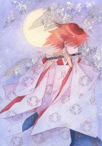 夜桜と月と笛を吹くあやかし風の人 - ギャラリー I