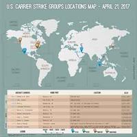 2017年4月21日現在・世界 米空母配置図  / 画像 - 「つかさ組!」