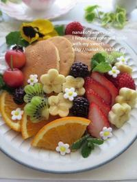 春のパンケーキ * フルーツてんこ盛り♪ - nanako*sweets-cafe♪