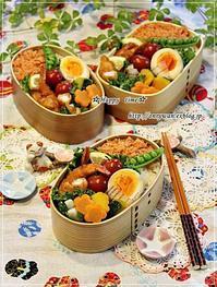 鮭フレークのっけてエビフライ弁当と苺酵母でカンパーニュ♪ - ☆Happy time☆