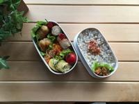 鮭とほうれん草の玉子焼きと常備菜活用弁当 - おうちのこと 備忘録
