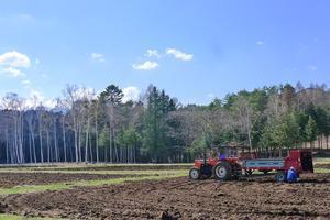 4月24日、「夕刊」蕎麦畑の田起こし。。 - 開田のポッポ屋