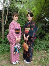 個性的、レトロなお着物、お揃いの髪飾り。 - 京都嵐山 着物レンタル&着付け「遊月」